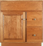 Bedford Collection with Prestige Door style in Cherry-Golden Wood-Color. Standard Bedford Decorative Hardware shown.