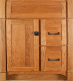 Heirloom Collection with Shaker Door style in Cherry-Golden Wood-Color. Standard Heirloom Decorative Hardware shown.
