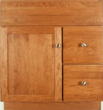 Jasper Collection with Shaker Door style in Cherry-Golden Wood-Color. Standard Jasper Decorative Hardware shown.