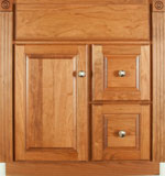 Ulverston Collection with Prestige Door style in Cherry-Golden Wood-Color. Standard Ulverston Decorative Hardware shown.
